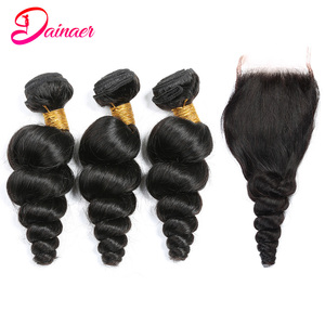 Peruvian Loose Wave Human Hair 3 Bundles With 4*4 Inch Lace Closure Virgin Natural Color Can Be Dyed Free Shipping Dainaer Hair