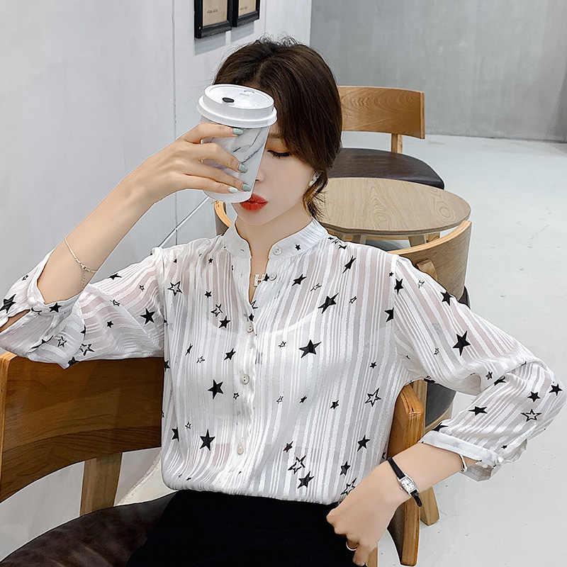 Женская рубашка Новая осень 2019 Звезда V-воротник белые женские топ полосатые Блузы рубашка с длинным рукавом Звезда печати шифон рубашка 909B60
