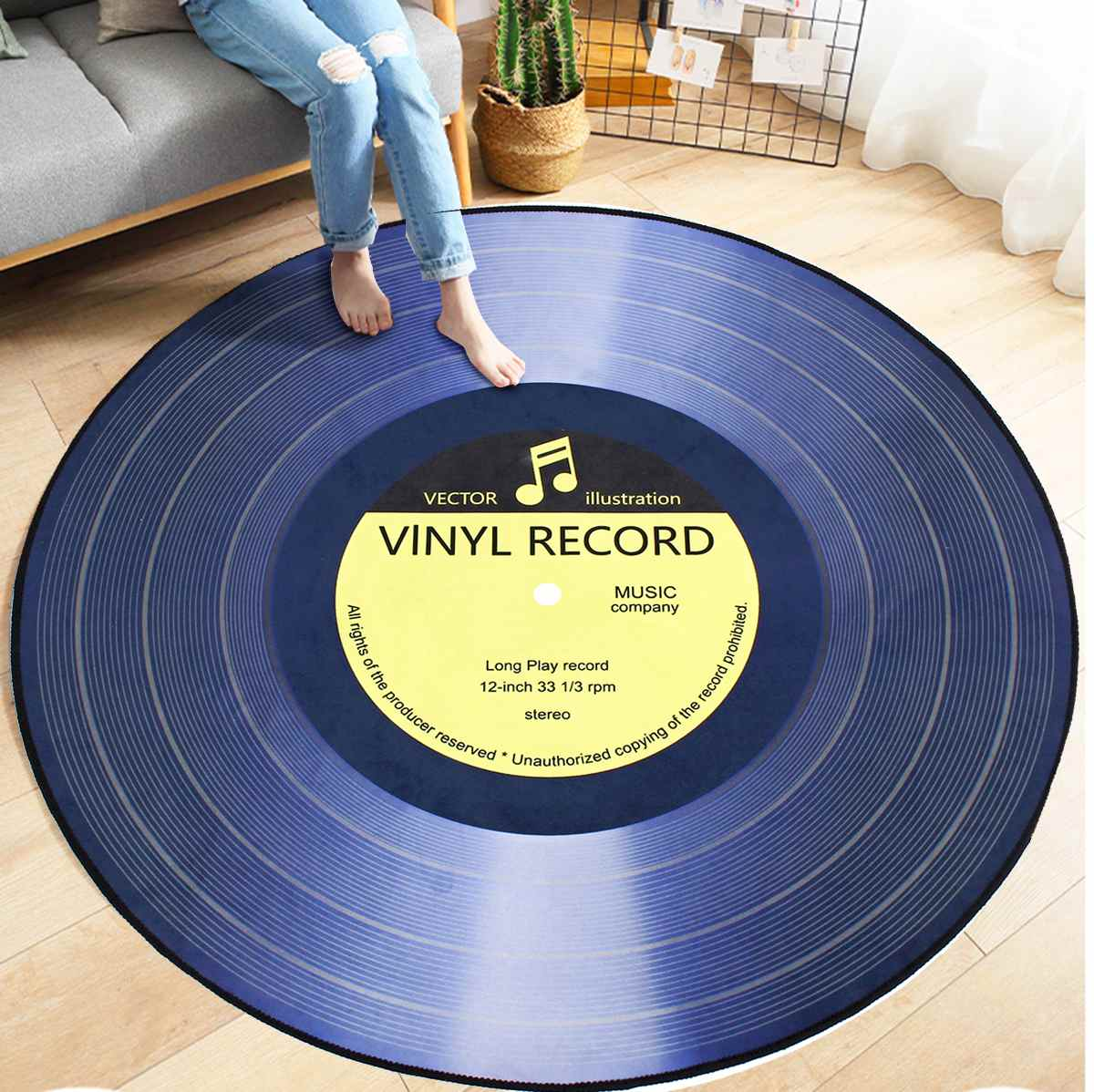 4 Types Round Carpet Rugs 3D Vinyl Record Printed Carpets Floor Mat For Bedroom Living Room Anti Slip Home Decoration