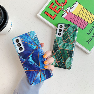 Image 2 - Telefoon Geval Voor Samsung Galaxy A51 A71 A31 A41 A50 A70 A20 A30 S21 S20 Fe S10 Note 20 Electroplated geometrische Marmer Back Cover