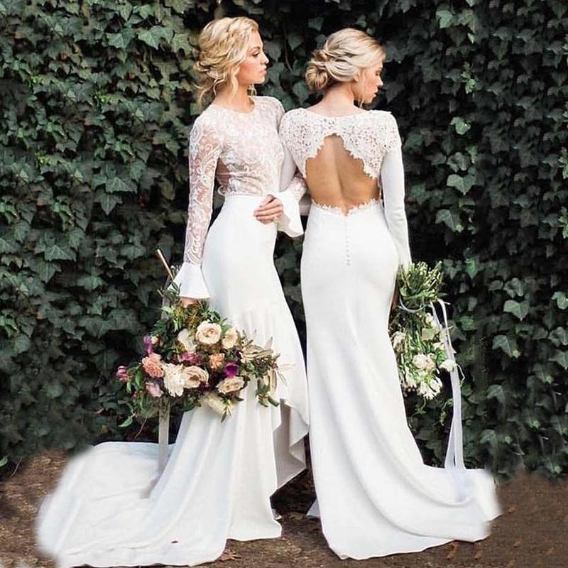 Long Sleeve White Mermaid Wedding Dresses Backless Lace Bohemian Wedding Dress Bridal Gowns Vestido De Novia Boho Court Train