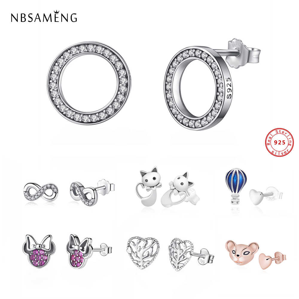 2PCS Asymmetry 100% 925 Sterling Silver Stud Earrings Hearts Animals Crystal Earrings For Women Girls Small Earrings Jewelry