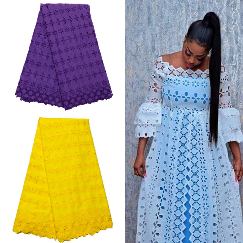 5 Yard Swiss Lace Fabric 2019 Latest Heavy Beaded Embroidery African Cotton Fabrics Swiss Voile Lace Popular Dubai Style XM0822