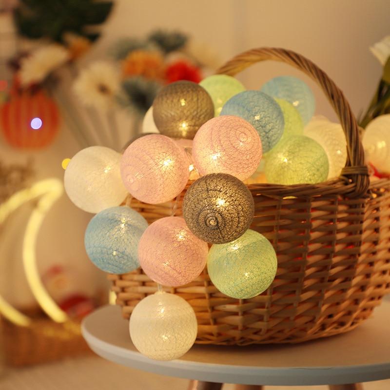 Guirlande lumineuse boule de coton 6m/3m/1.5m, guirlande lumineuse pour noël, vacances, mariage, lit de bébé, décoration, féerique