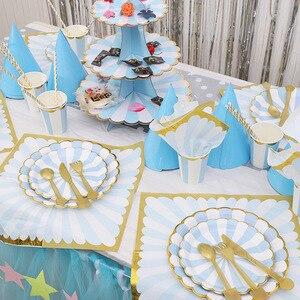 Синие полосы дети с днем рождения принадлежности одноразовые посуда бумажные салфетки/бумажные тарелки/чашки, ребенок, Душ Свадебный декор
