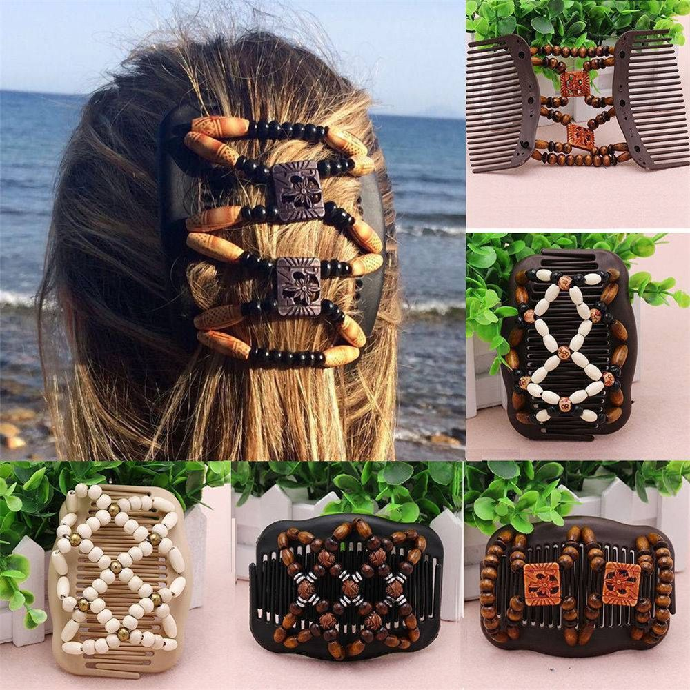 Hot Sale Retro Double Beaded Hair Magic Comb Clip Beads Elasticity Hairpin Stretchy Hair Combs Pins For Women Hair Accessories