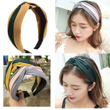 New Fashion Knot Stripe Hair Bezel Contrast Cross Hairbands Girls Headband Patchwork Hair Hoop For Women Korean Hair Accessories contrast stripe knot tee