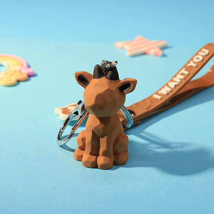 2019 nueva moda llavero de dinosaurio lindo llavero de algodón de moda relleno de dibujos animados PU llavero creativo bolsa de coche llave de teléfono anillo