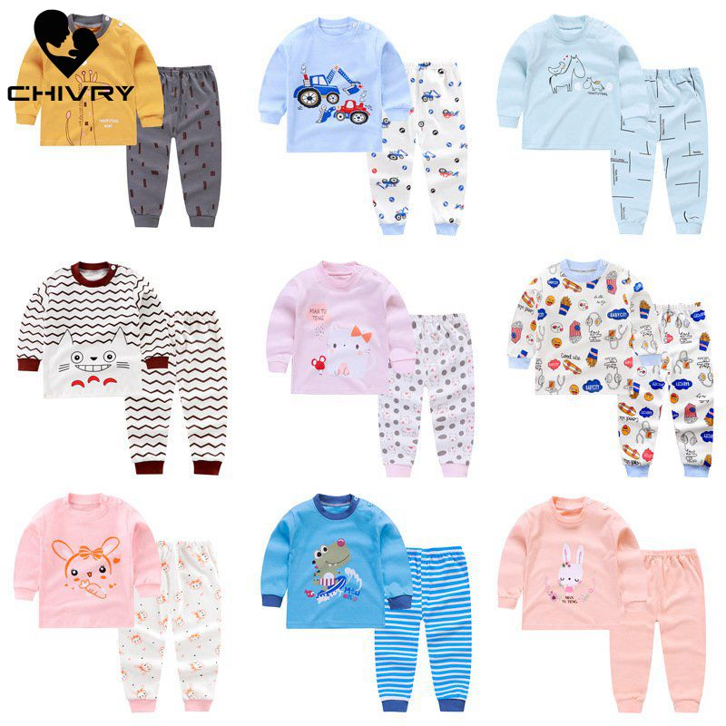 2019 New Kids Boys Girls   Pajama     Sets   Cartoon Print Long Sleeve Cute T-Shirt Tops with Pants Toddler Baby Autumn Sleeping Clothes