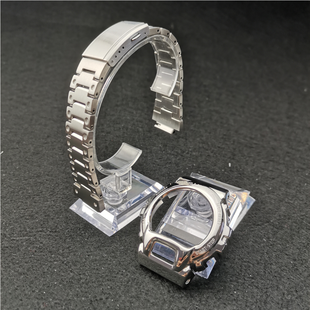 Sliver Color DW6900 Metal Stainless Steel Watchband And Bezel Watch Band Strap Watch Frame Bracelet Accessory With Repair Tool