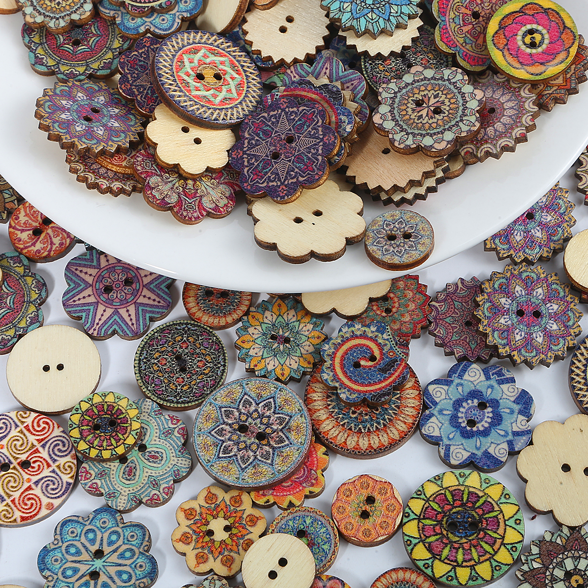 20//100pcs Brown Wood Buttons Christms Snowflake Lot 18mm Craf Sewing Cards