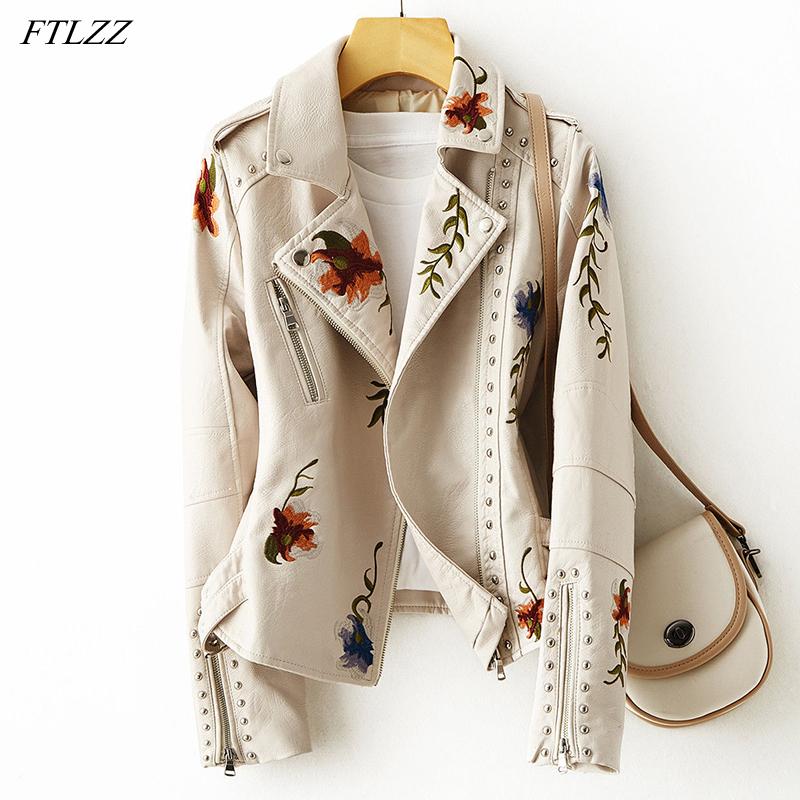FTLZZ New Women Retro Floral Print Embroidery Faux Soft Leather Jacket Coat Turndown Collar Pu Moto Biker Black Punk Outerwear