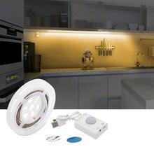 Luz de cama activada por movimiento, lámpara nocturna con Sensor de tira Flexible recargable por USB con luz led para armario temporizador de apagado automático