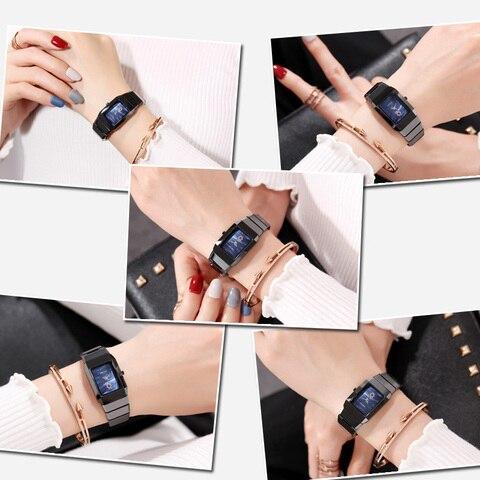 Black Ceramic Women Watches Top Brand Luxury Men Watch Saat Fashion Simple Rectangle Design High Quality Analog Quartz Watches Islamabad