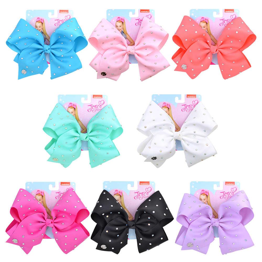 Kids Girls Child 8 inch JoJo Siwa Soild Hair Bow Clip Rhinestone Ribbon Bowknot