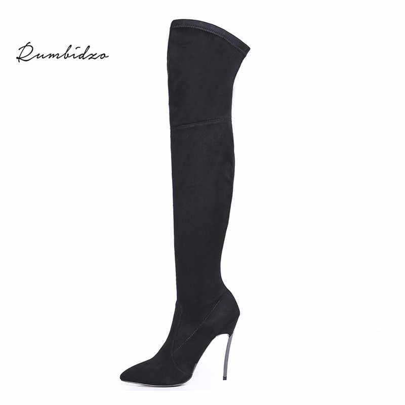 Rumbidzo/Коллекция 2019 года; сезон осень-зима; женские сапоги; обтягивающие высокие сапоги до бедра; Сапоги выше колена на высоком каблуке с острым носком; Sapatos