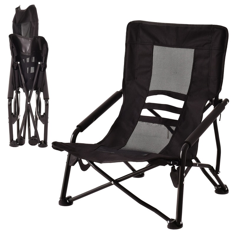 Outdoor High-Back Folding Beach Chair Black Blue High Quality Mesh Seat Foldable Chair With Armrests Patio Furniture OP3079