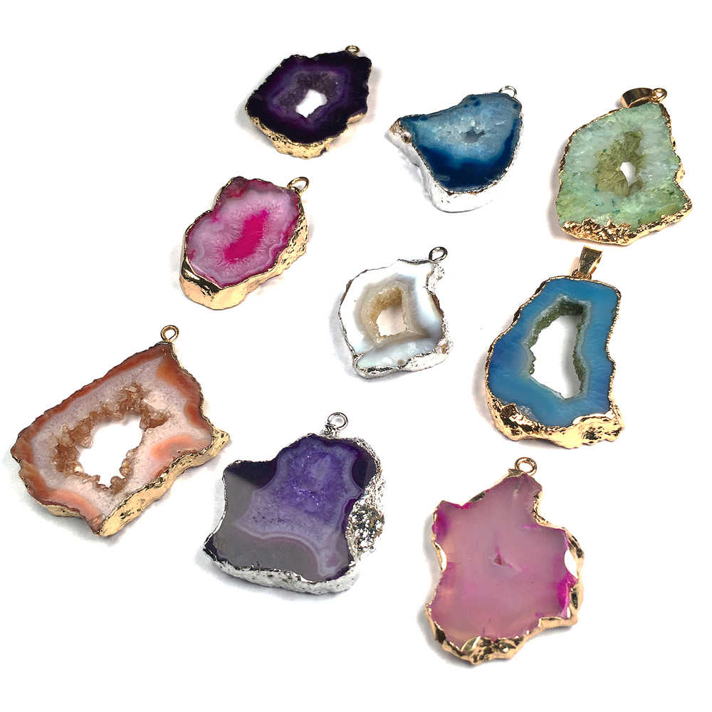 Pietra naturale Pendenti Con Gemme E Perle di Fascino Irregolare Agate Pendente Della Collana per Monili Che Fanno Formato 20x30-25x45mm
