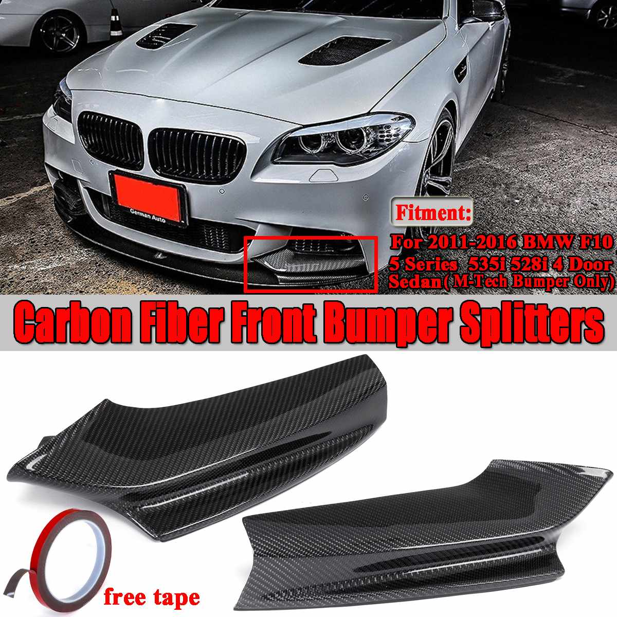 Real Carbon Fiber Car Front <font><b>Bumper</b></font> Lip Splitters Diffuser Spoiler Guard For <font><b>BMW</b></font> <font><b>F10</b></font> 5 Series 535i 528i M Sport Sedan 2011-2016 image
