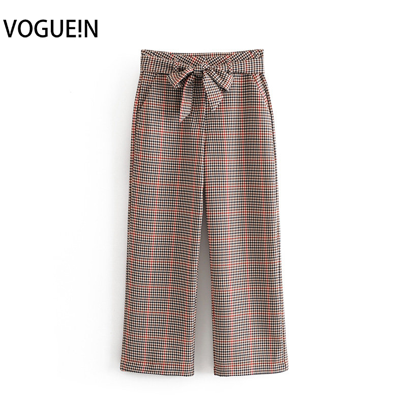 VOGUEIN New Womens Fall/Winter Plaids&Checks Print Belt Bow Pockets Pants Trousers Wholesale