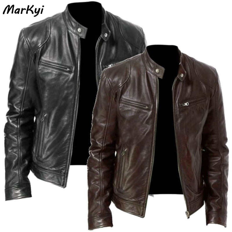 MarKyi 2020 New Brand Mens Leather Jackets Motorcycle Stand Collar Zipper Pockets Male US Size PU Coats