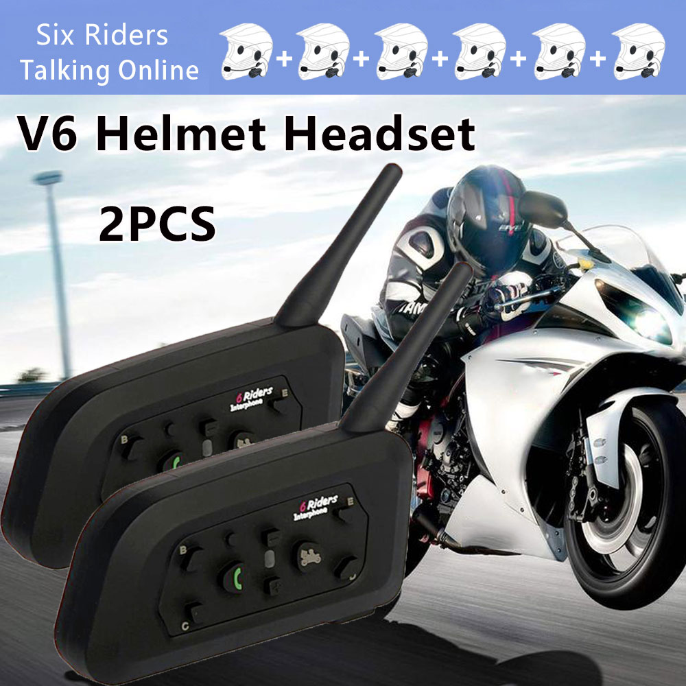 2PCS V6 1200M Wireless Motor Helmet Headsets For Bluetooth Intercom Support 6 Riders GPS Wi-Fi IP65 Waterproof Noise Reduction