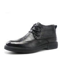 Мужская обувь черного цвета; Теплые зимние ботинки из натуральной