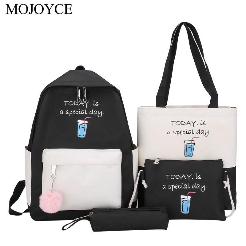 4pcs Backpack Women Canvas Women Backpack Set Letters Hit Color Shoulder Clutch Card Bag Set Fashion School Bag For Teenage Girl