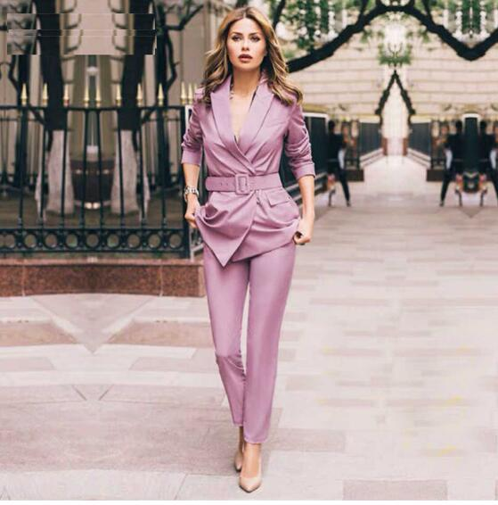Women Blazers Pants Suits Elegant Slim Long Sleeve Sashes Jacket And Trousers Office Ladies Work Wear Sets