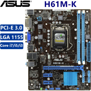 ASUS H61M-K motherboard 100% Original Core i7 i5 i3 intel LGA 1155 DDR3 PCI-E 3.0 USB2.0 16GB VGA SATA Desktop Mainboard Used