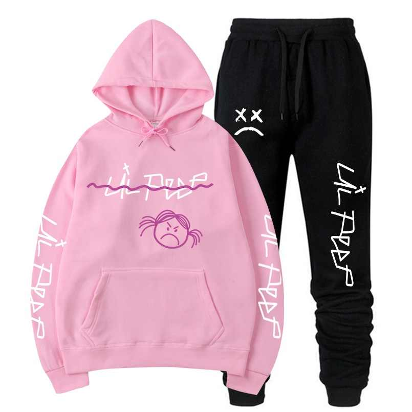 RIP Lil Peep Sweatshirt Sets Männer/Frauen Winter Warme Fleece Hoodies Sweatshirts + Jogginghose Anzüge Harajuku Hip Hop Pullover hoodies