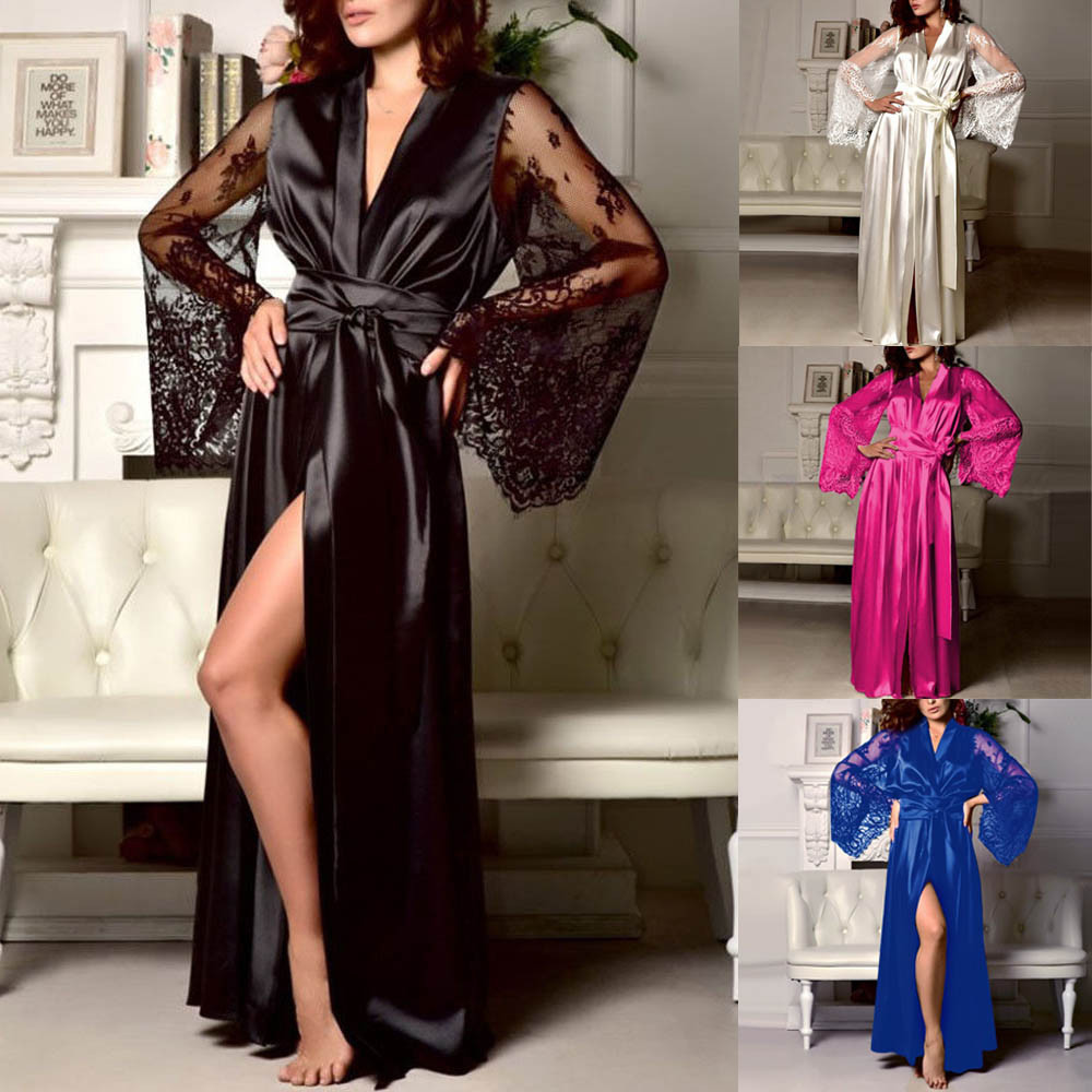 Pajamas For Women Pyjamas Women 2020 Women Satin Long Nightdress Silk Lace Lingerie Nightgown Sleepwear Sexy Robe Pyjama Femme