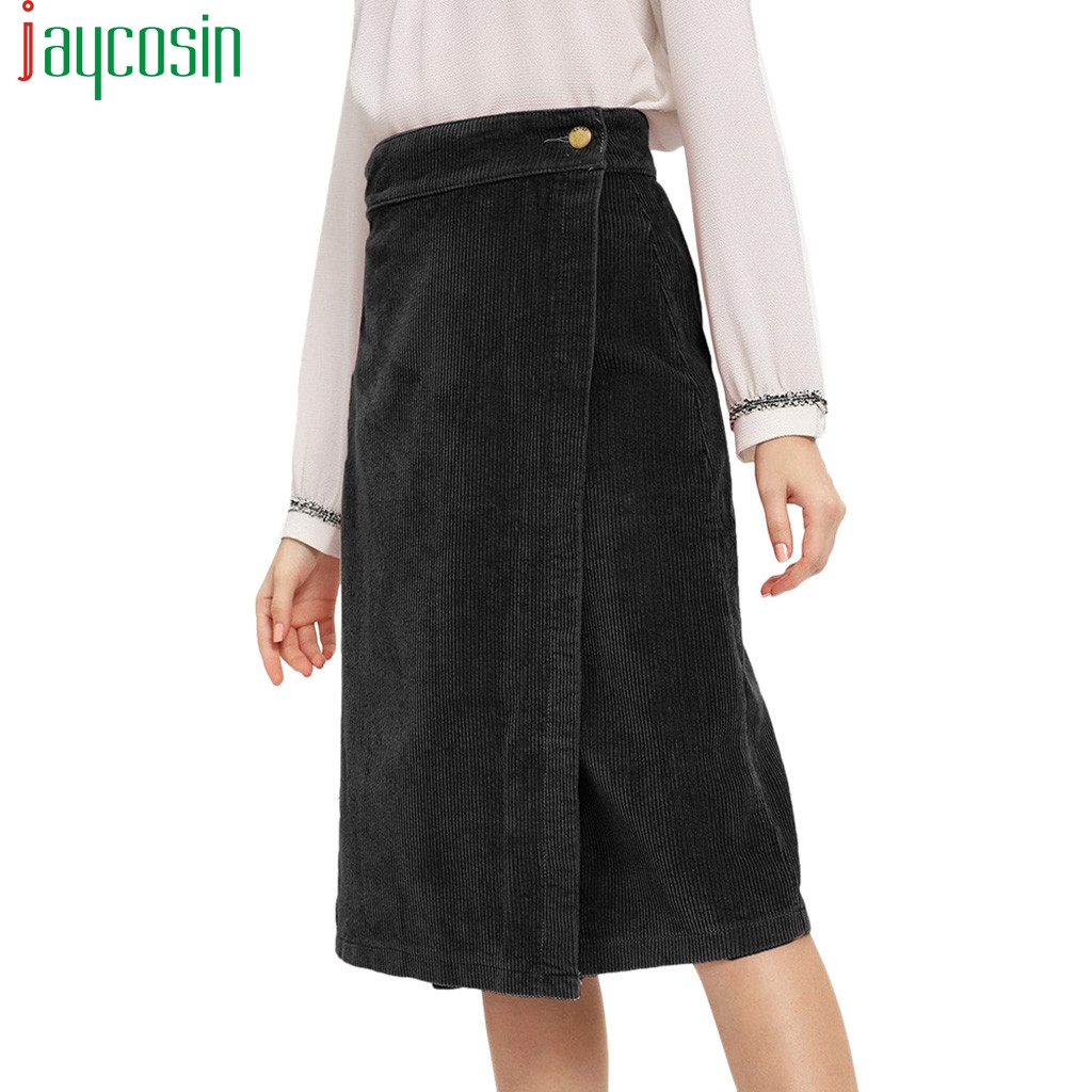 Women Casual Skirt Corduroy Long Straight Button Solid Color High Waist Female Bodycon Skirt Ladies Plus Size Pencil Short Skirt