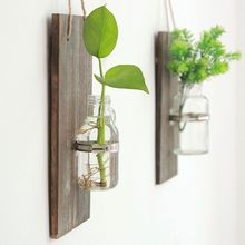 Decorative Artificial Flower Wall Decor - Rustic Hanging Sconces with Mason Jars and 1 Pack Farmhouse Home