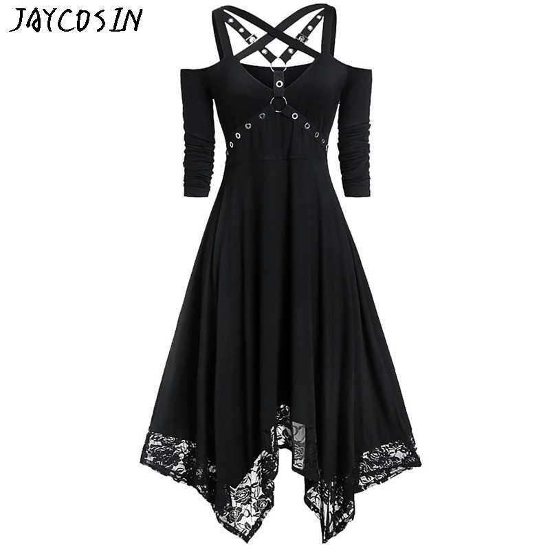 JAYCOSIN 女性ドレスハロウィンパーティーオープンショルダーレース半袖ゴシックドレスファッション女性秋冬ドレスプラスサイズ