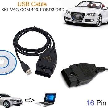 Car USB Vag-Com Interface Cable KKL VAG-COM 409.1 OBD2 II OBD Diagnostic Scanner Auto Cable Aux USB Vag-Com interface cable op com opcom v1 99 with real pic18f458 ftdi op com obd2 auto diagnostic tool for opel gm opcom can bus v1 7 can be flash update