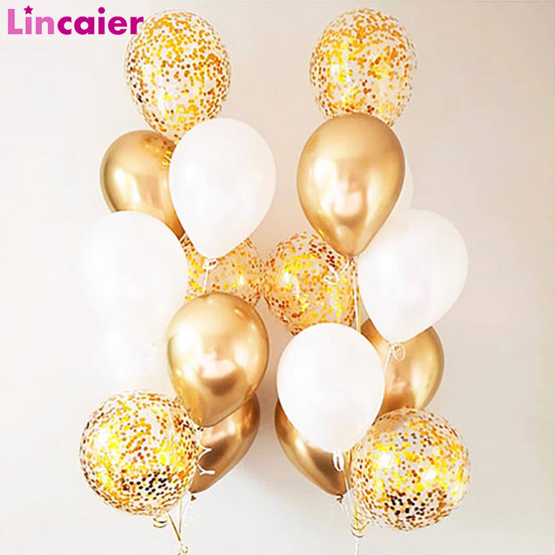 18pcs Metallic Confetti Balloons Graduation 2019 Party Decoration Just Married Babyshower Boy Girl 30th 40th 50th 60th Birthday