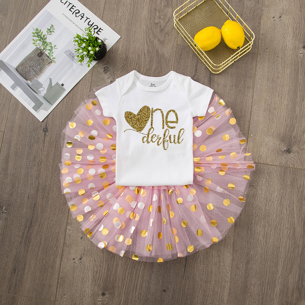 ONEderful Birthday Pink Gold Outfit 1st Birthday Party Girls Outfits Cake Smash Tutu+baby Bodysuits Summer Set Fashion Wear 16