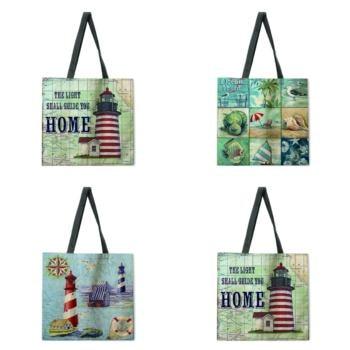 Ocean Lighthouse Ladies Printed Tote Bag Linen Shoulder Bag Tote Bag Outdoor Beach Bag Reusable Shopping Bag tow tone chevron tote bag