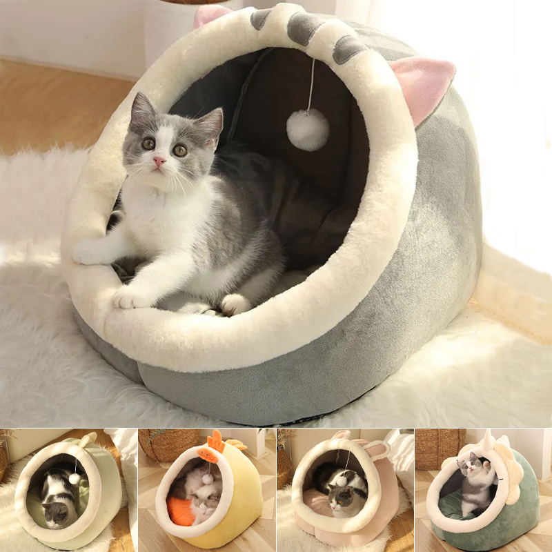 Sweet Cat Bed Warm Pet Basket Cozy Kitten Lounger Cushion Cat House Tent Very Soft Small Dog Mat Bag For Washable Cave Cats Beds