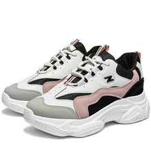 Increased 2019 Autumn Women Casual Sport Dad Shoes Cute Sneakers Platform Leather White Sneakers Tennis Female moda mujer
