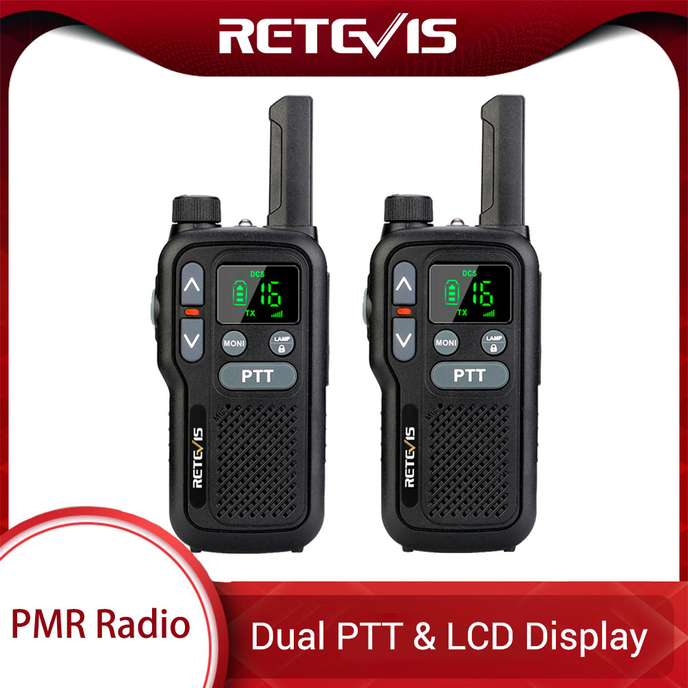 Retevis RB618 RB18 Walkie Talkie 2pcs Dual PTT PMR Radio PMR 446 VOX LCD Display  FRS Two Way Radio Transceiver Walkie-talkies