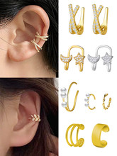 Mode Kristall Perle Ohr Manschette Clip auf Ohrringe Minimalistischen Blatt Sterne Mond Geometrische Gefälschte Piercing Earcuffs Für Frauen Earcuff