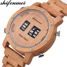 Shifenmei Full Wooden Watches Men Roller Design Business Clock Men Quartz Watch Casual Sports Male Watches Relogio Masculino sihaixin health wooden watches men full wood quartz watch luminous needle vintage casual relogio masculino japan movement