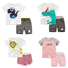 2019 Hot Sale Brand Girl/Boys Clothing Children Summer Girl/Boys Clothes Cartoon Kids Boy Clothing Set T-shit+Pants 100% Cotton brand summer boys clothing set 100