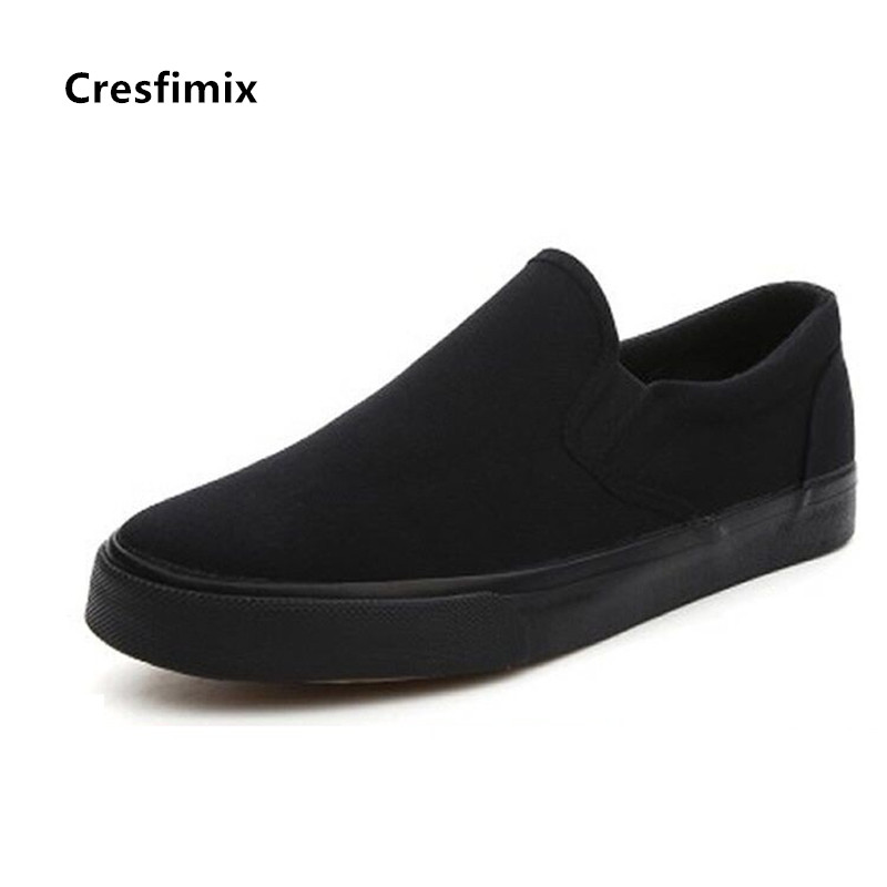 Cresfimix Zapatos De Mujer Women Cute Sweet All Black Slip On Loafers Ladies Casual Anti Skid White Shoes Canvas Shoes C5785b