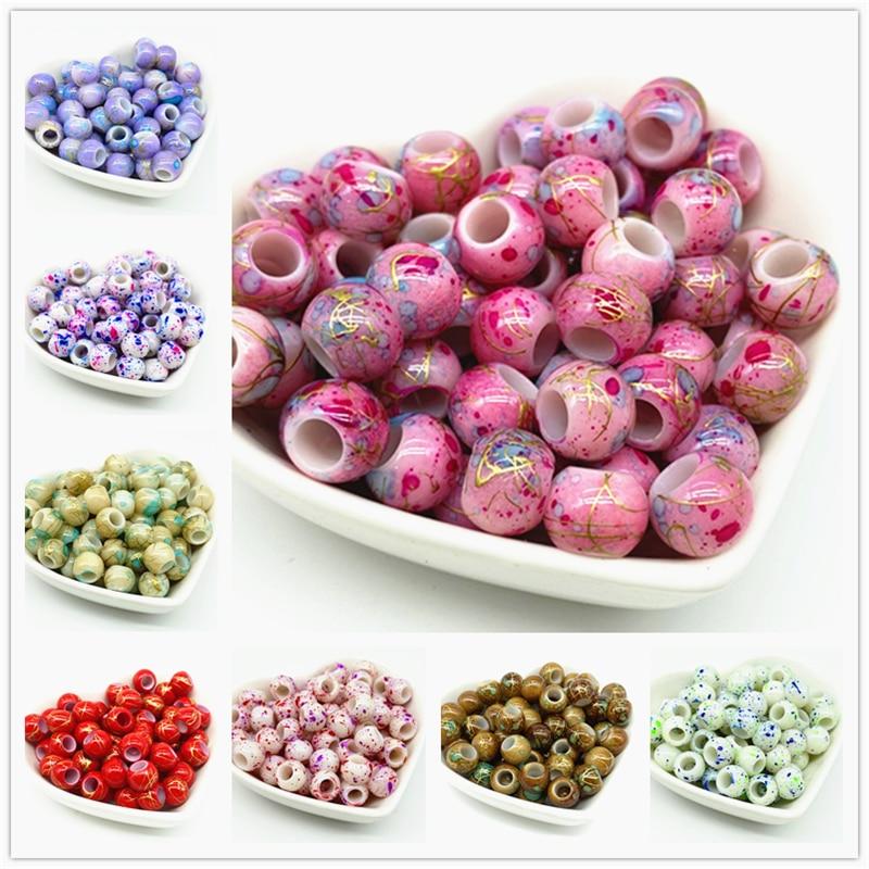 50pcs 10mm Big Hole Round Beads for Jewelry Making DIY Accessory(China)