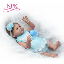 NPK new design 22inch 50cm Lovely Reborn Doll full vinyl silicone doll soft real touch girl doll gifts for girls on Xmas wmdoll top quality silicone sex doll head for real human dolls real doll adult oral sex toy for men