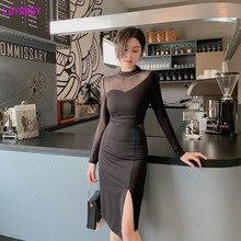 2019 autumn new Korean fashion womens sexy perspective mesh stitching Slim irregular slit temperament dress