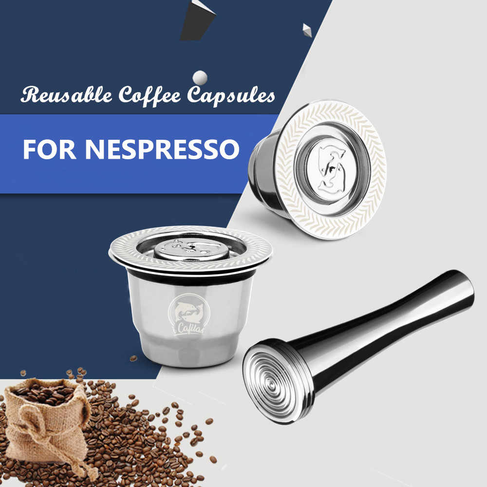 Upgraded Stainless Steel For Nespresso Coffee Filters Coffee Capsule Pods Tamper For Espresso Reusable Refillable Baskets